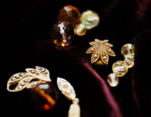 Close up of glass beads and findings