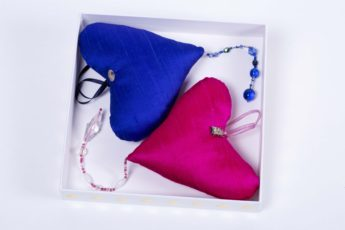 a pink and blue silk heart