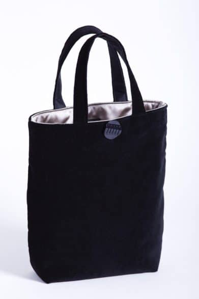 Black velvet bag with taupe satin lining