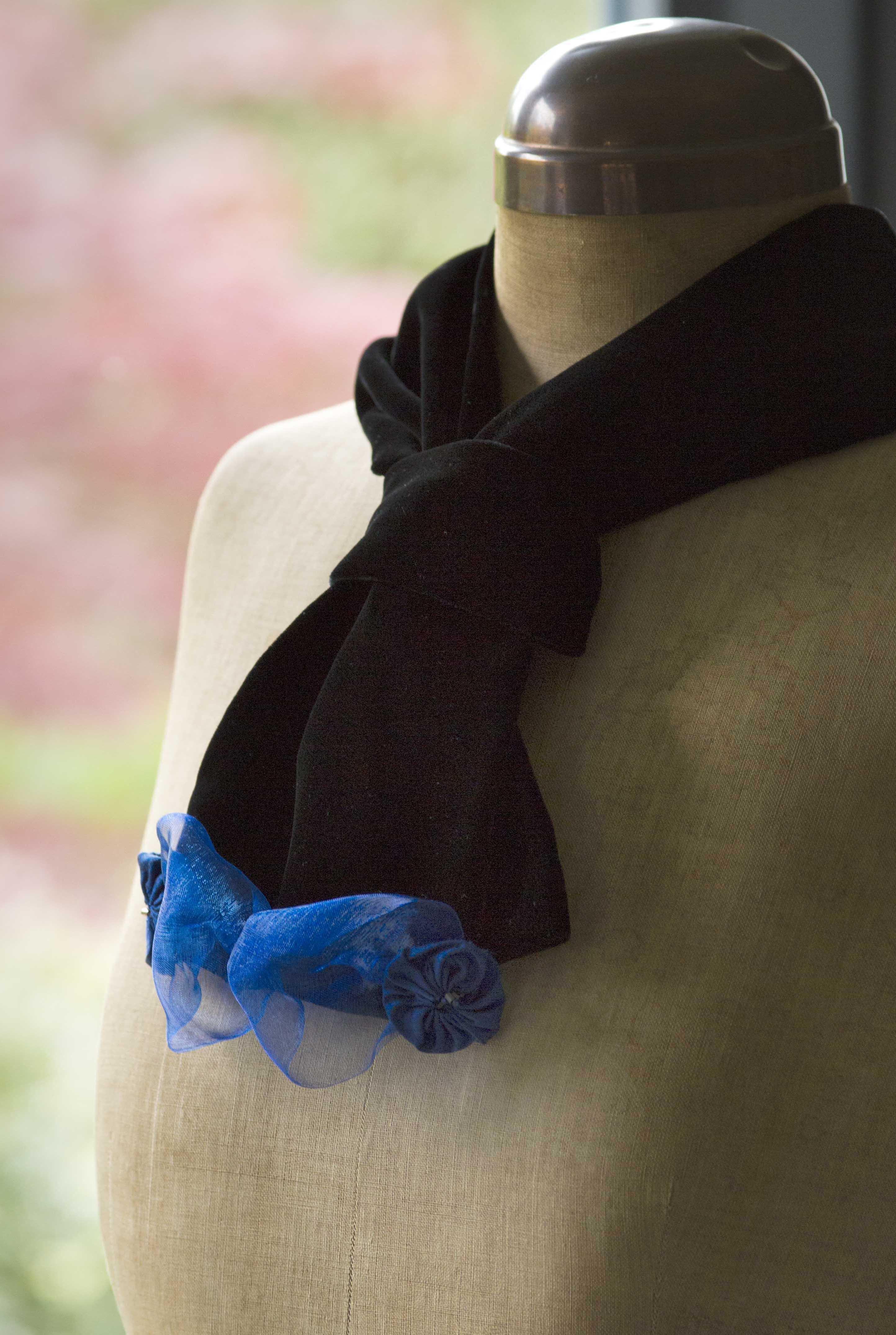 Black velvet scarf with blue ribbon trim