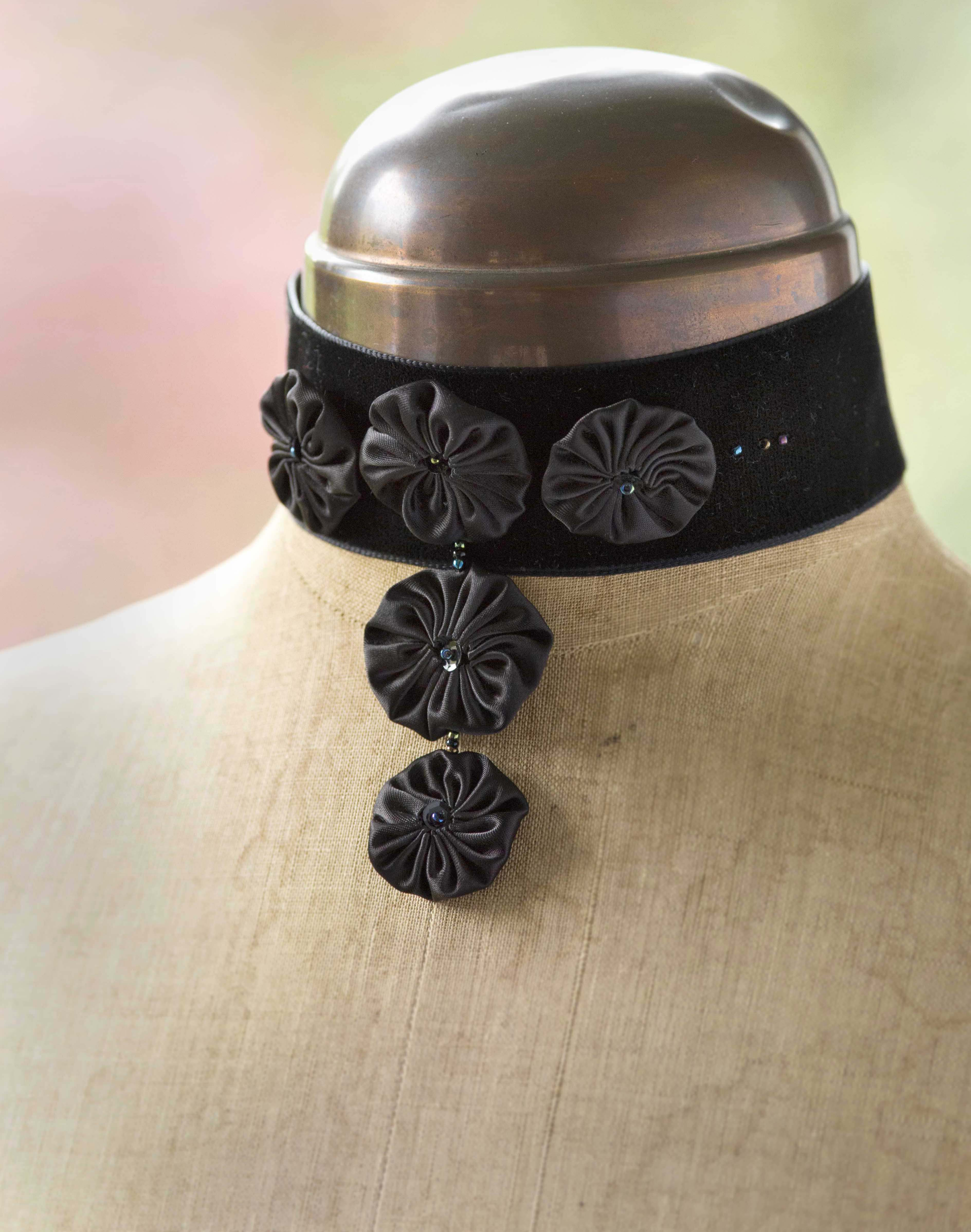 black velvet choker with suffolk puffs