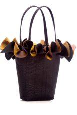 Black silk handbag with gold/purple organza ruffle