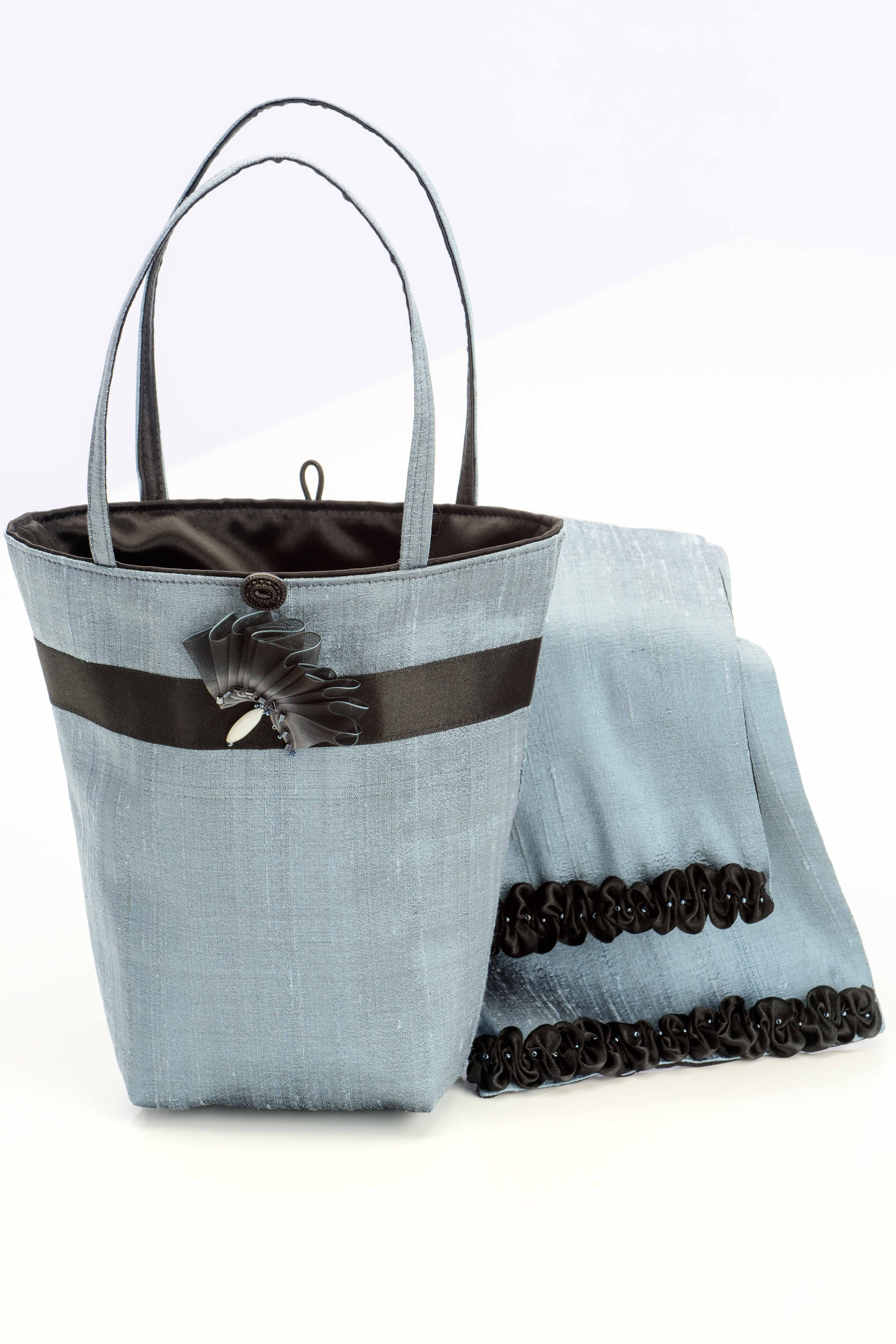 Blue silk handbag with matching scarf