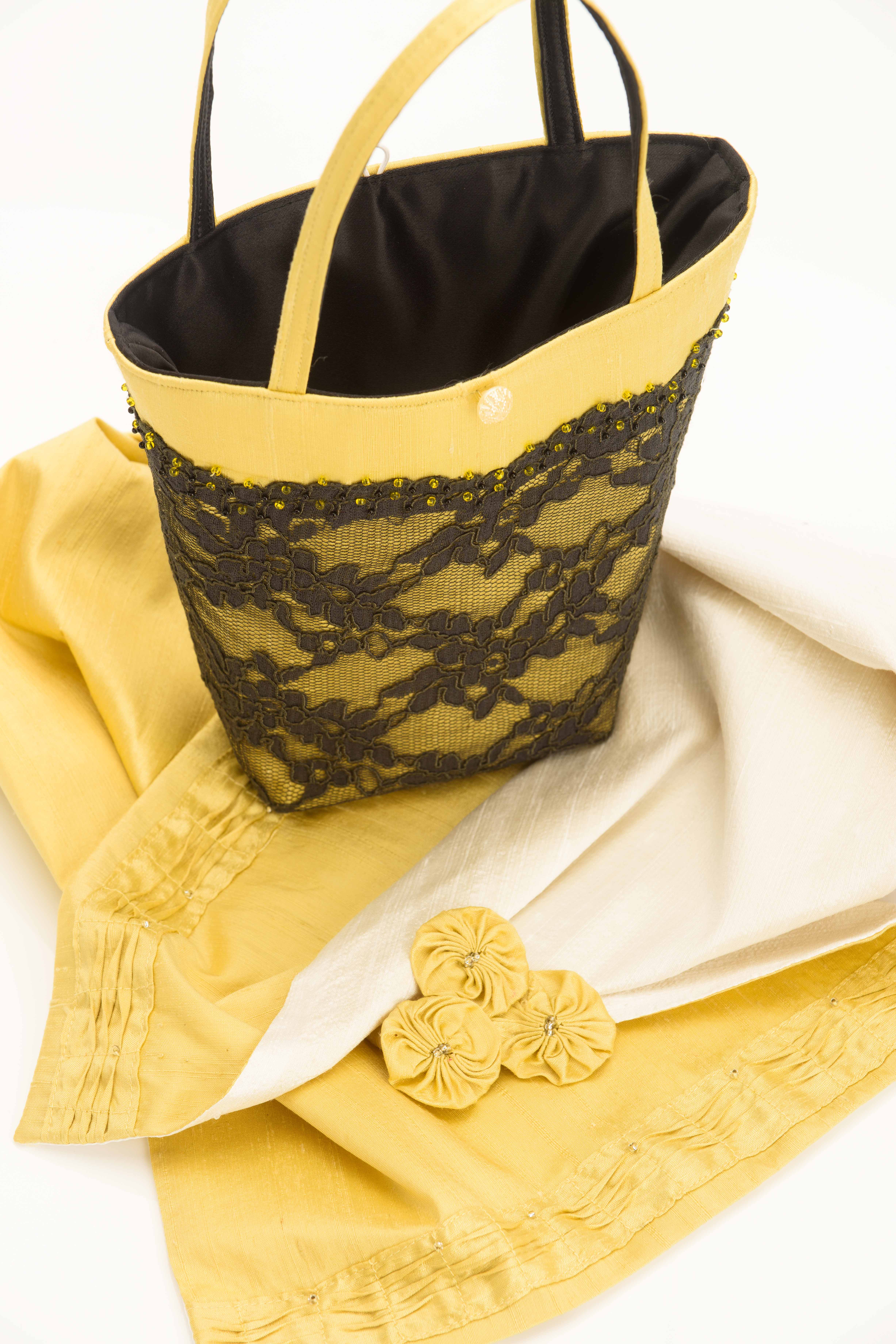 yellow silk wrap with matching handbag