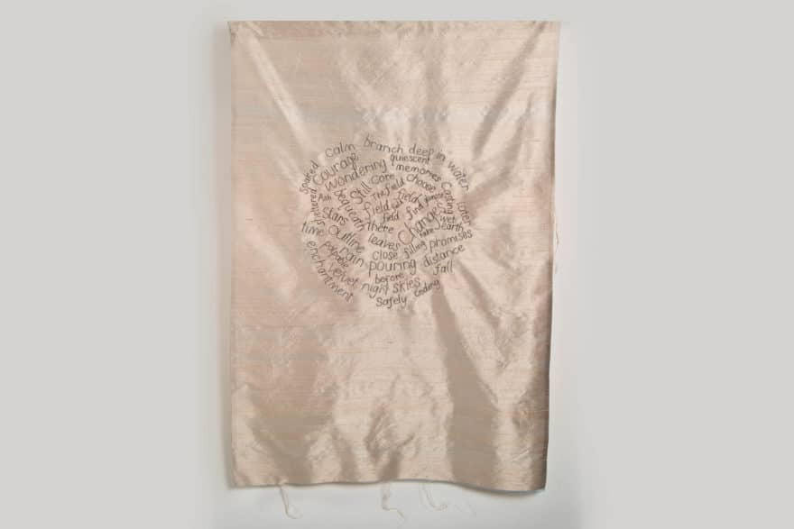 machine embroidered wall hanging on silk
