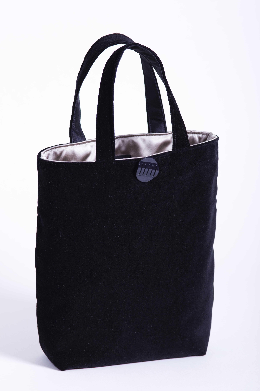 Black velvet bag with taupe satin lining