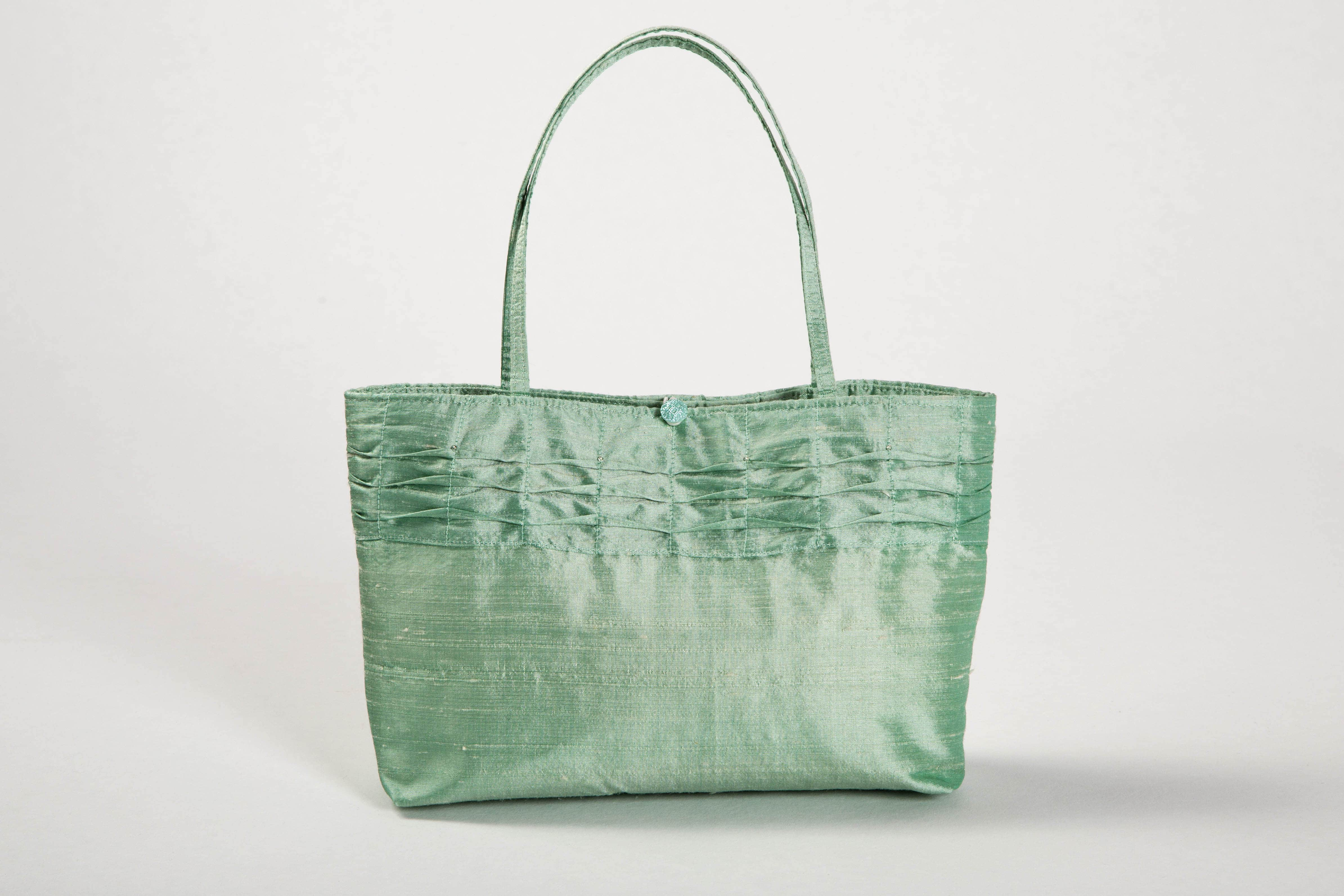green silk bag