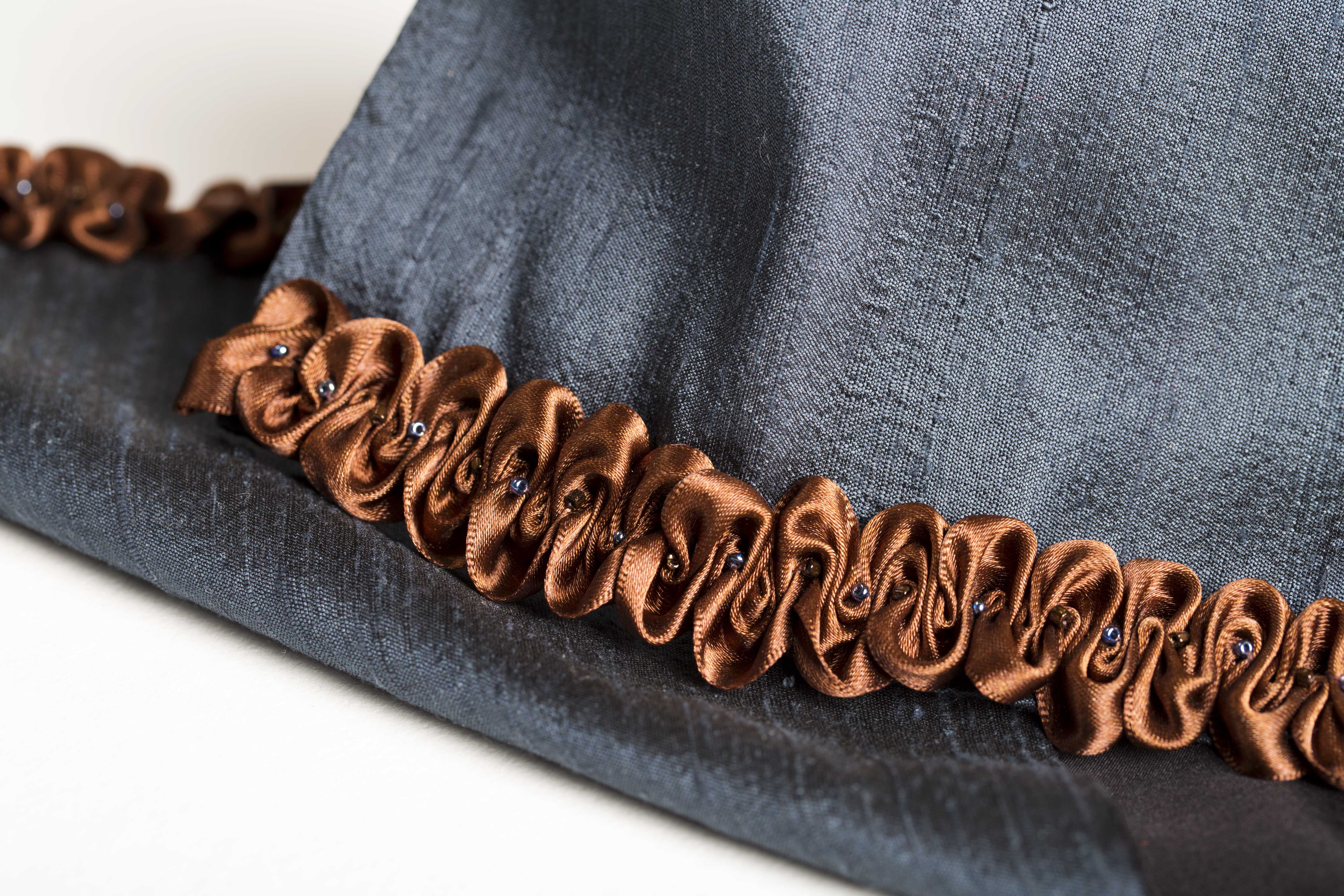 Brown satin ruched ribbon on gunmetal blue silk scarf