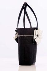 Black silk handbag with black and white swirl trim