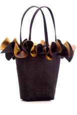 Black silk handbag with gold/purple organza ruffle