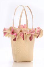 Cream silk handbag with pink organza ruffle