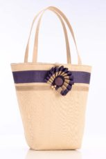 Cream silk handbag with purple ribbon trim