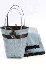 Blue silk handbag with matching scarf