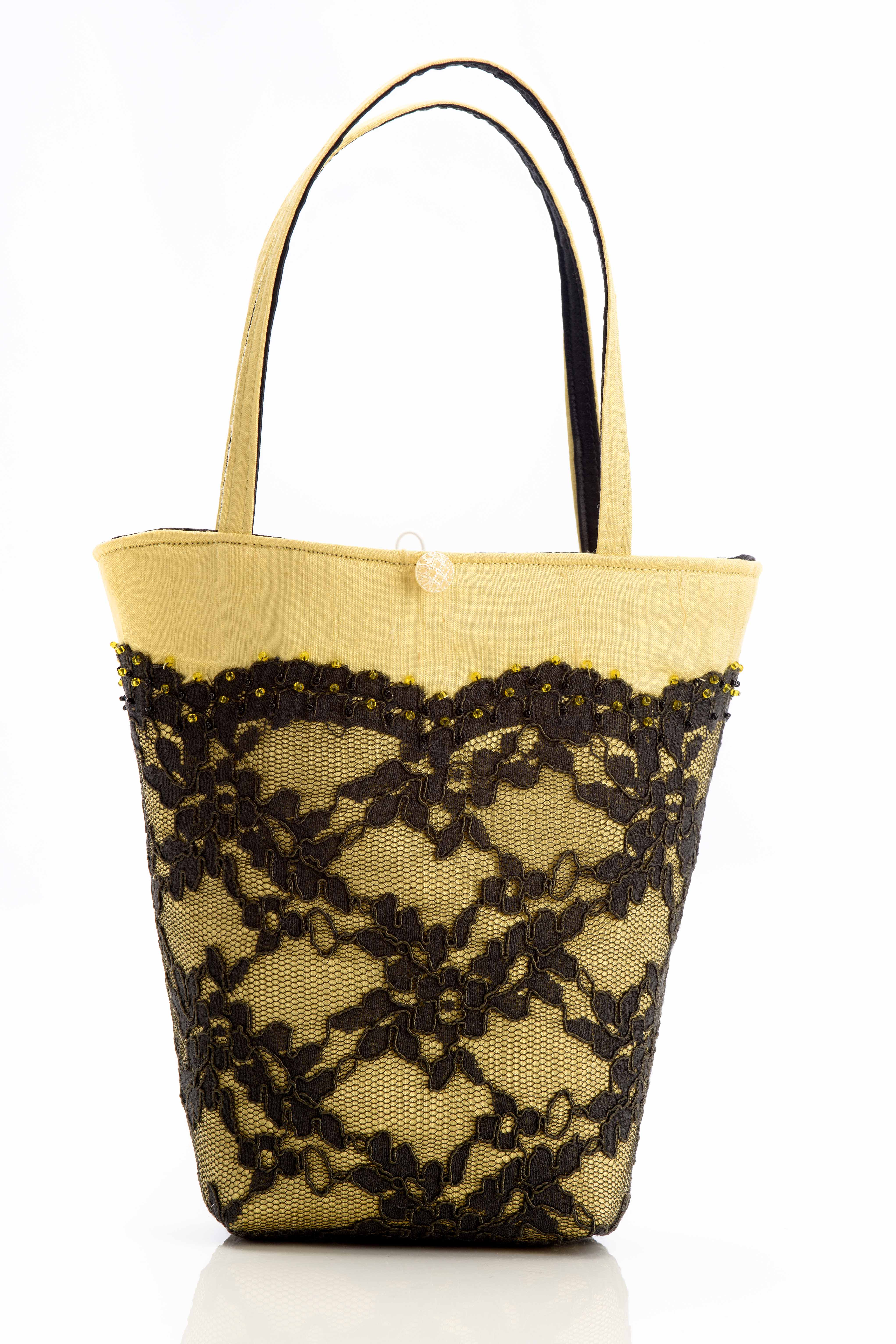 yellow silk handbag with black lace and beads