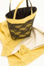 yellow silk wrap with matching handbag