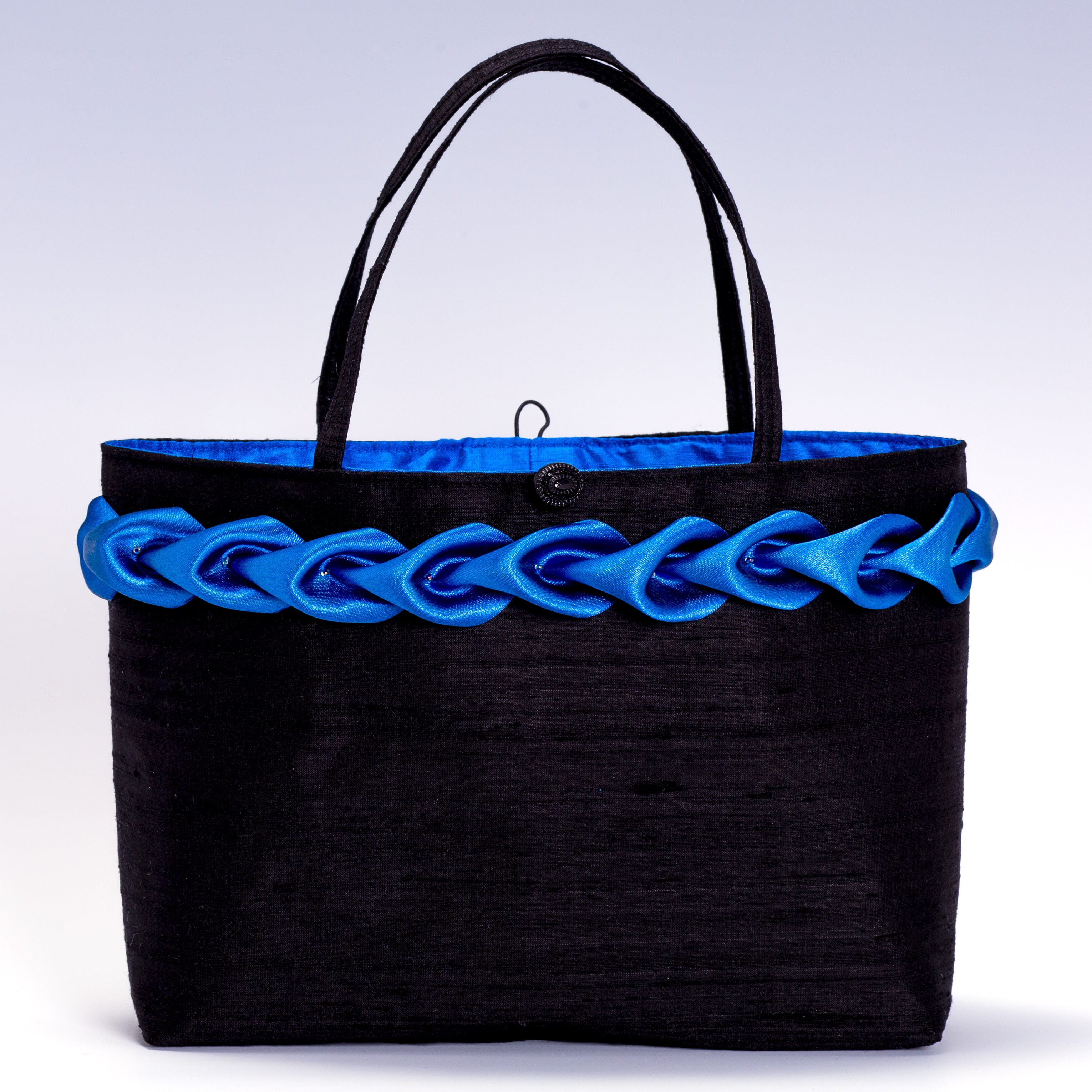 black silk hand bag with blue satin trim