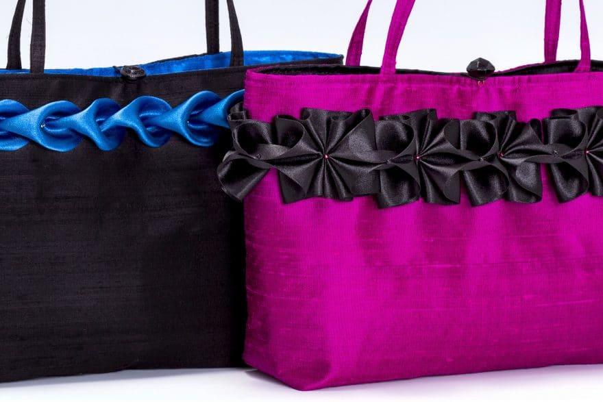 Pink handbag detail of ribbon trim