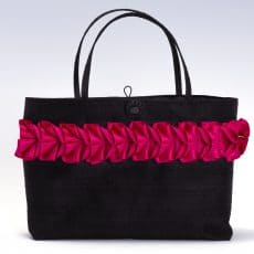 Black silk handbag with pink pleated ribbon trim