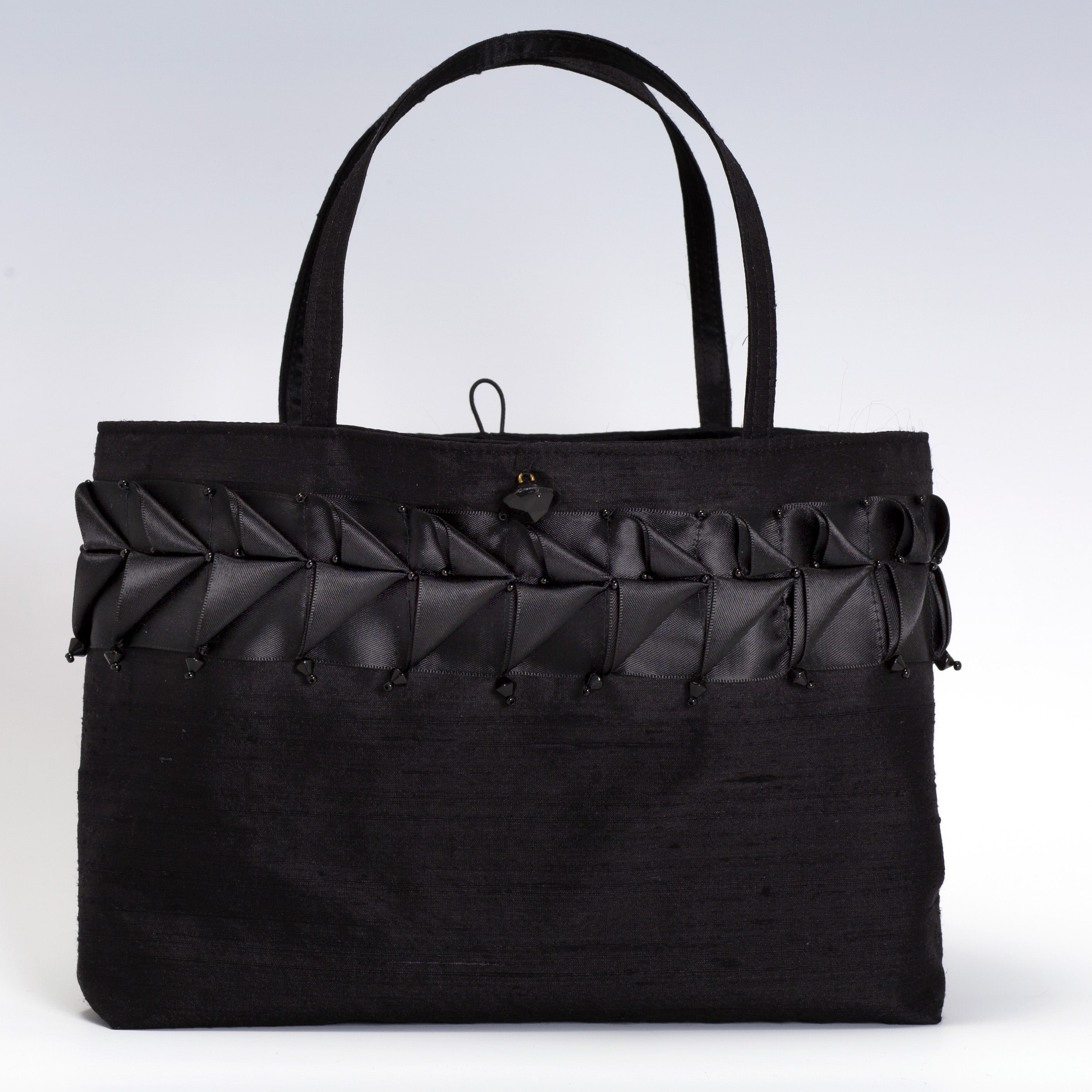 Black silk handbag with black satin ribbon trim
