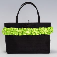Black silk handbag with lime green ribbon trim