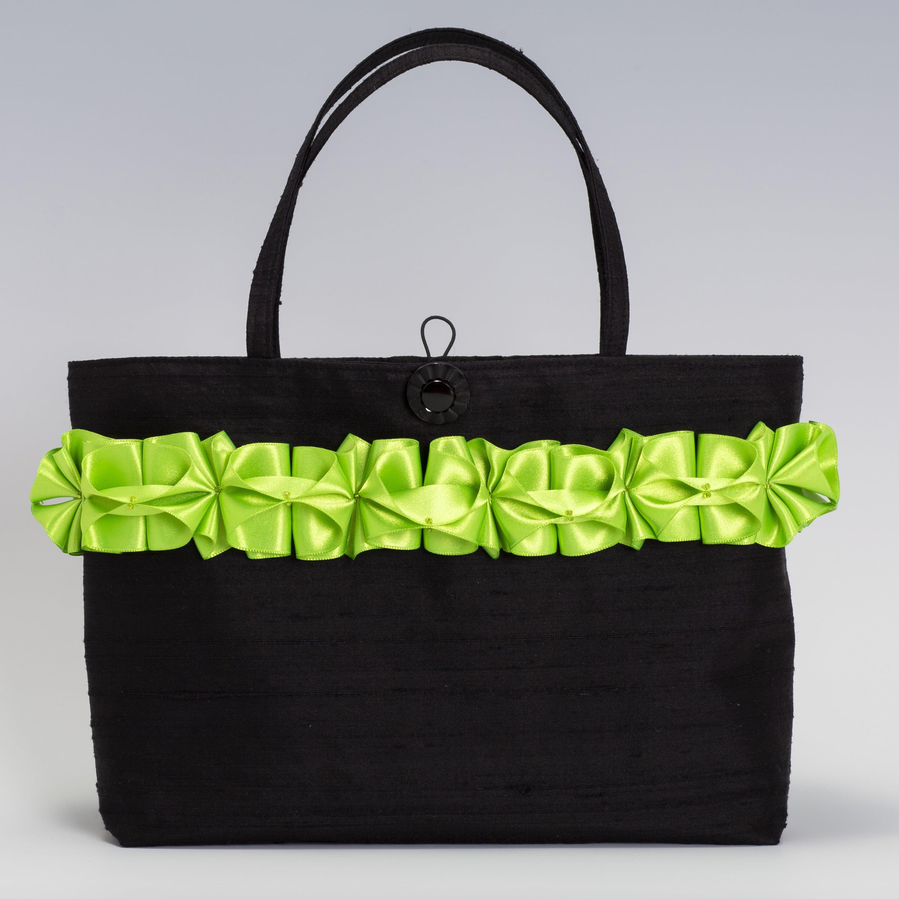 Black silk handbag with lime green ribbon trim