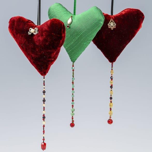 Close up of velvet silk hearts
