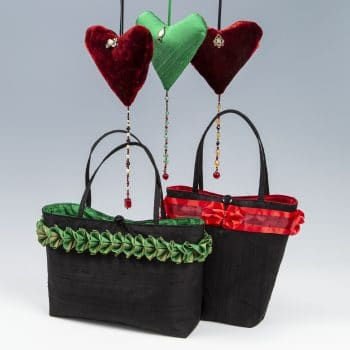 Handbags and hearts in red and green silks