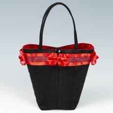 Black and red silk handbag