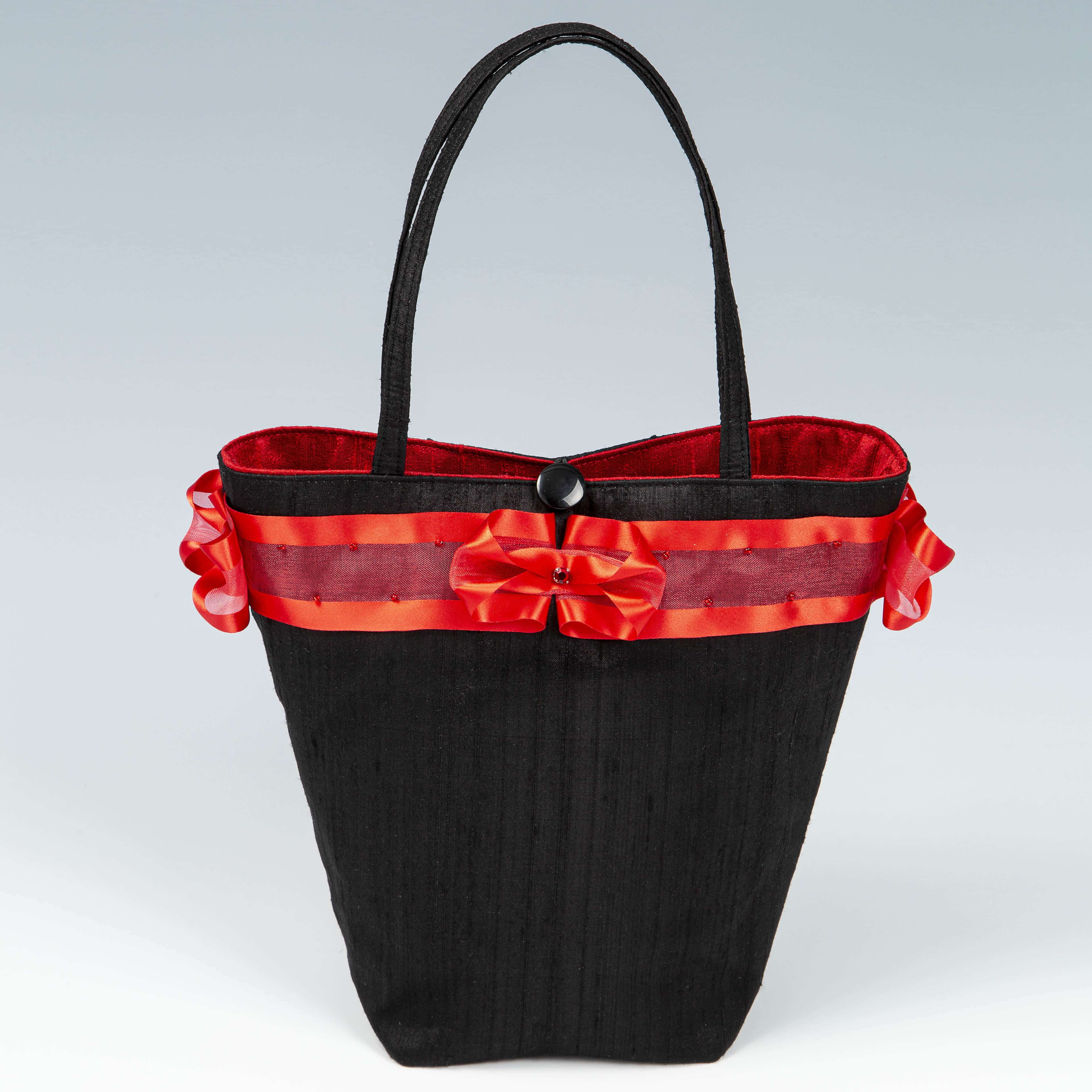 Black and red silk handbag
