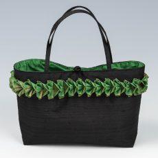 Black silk handbag with emerald silk lining